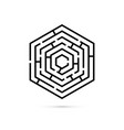 hexagon maze business confusion and solution vector image vector image