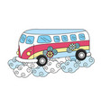 hippie van with flowers and clouds vector image vector image