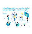 isometric article banner creative studio vector image vector image