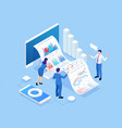 isometric concept of business analysis analytics vector image vector image