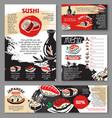 japanese seafood restaurant sushi menu template vector image vector image