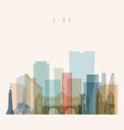 lima skyline detailed silhouette vector image vector image