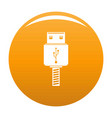 memory flash drive icon orange vector image vector image