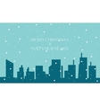 Merry Christmas and Happy New Years with city vector image
