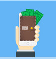 mobile wallet in the smartphone wallet on the vector image vector image