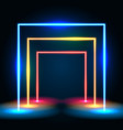 neon glowing lines tunnel abstract background vector image vector image