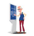 old man using atm machine digital terminal vector image vector image
