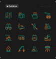 outdoor thin line icons set vector image vector image