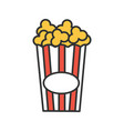 paper glass with popcorn color icon vector image
