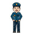 portrait policeman smiling uniform and cap vector image vector image
