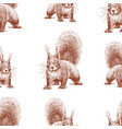seamless background sketches forest squirrel vector image