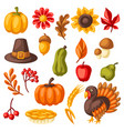 set happy thanksgiving day items holiday vector image