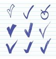 set of Hand-drawn check vector image vector image