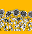 set of hand drawn graphic sunflower vintage sketch vector image vector image