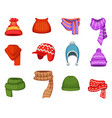 set winter scarfs and caps with different vector image vector image