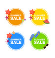 summer sale set in circle with icons vector image vector image