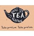 teapot vintage card vector image vector image