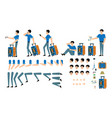 tourist male character creation set - isolated kit vector image vector image