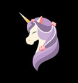 unicorn with closed eyes pearls and flowers vector image vector image