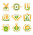 wheat badges field grain farm fresh flour vector image vector image