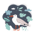 white bird seagull isolated vector image vector image