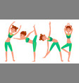 yoga woman poses set girl yoga poses vector image