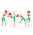 yoga woman poses set girl yoga poses vector image vector image
