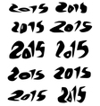 2015 date in black organic fluid fonts over white vector image