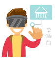 a white man in virtual reality headset doing vector image vector image
