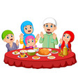are praying for eat food on ied mubarak vector image vector image