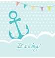 Baby boy shower card with cute anchor on seamless vector image vector image