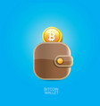 Bitcoin wallet icon with coins