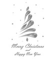 black elegant christmas tree on white background vector image vector image