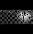 black shiny 2019 new year banner with clock vector image vector image