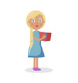 blond girl with blue eyes holds open book vector image vector image