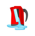 broken red kettle pouring water damaged home vector image vector image