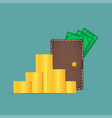 brown wallet with money dollars stick out of the vector image vector image