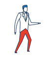 business man character person in blue and orange vector image vector image