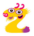 cartoon capital letter z from monster alphabet vector image vector image