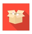 Cat in a carton box icon of vector image