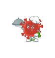 chef cartoon character red corona virus with food