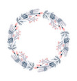 christmas flower wreath and red berries on vector image vector image