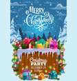 christmas gifts on snow xmas party invitation vector image vector image