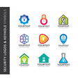 collection of security logos and keyhole symbols vector image vector image