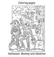 coloring halloween cute angel and demon hug vector image