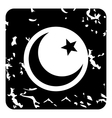 Crescent and star icon grunge style vector image vector image