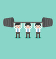 cute businessman team help each others for weight vector image vector image
