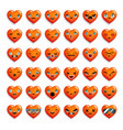 cute heart chat emoticon smiley emoji icons set vector image