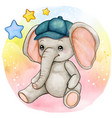 cute watercolor baby boy elephant sitting vector image