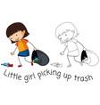 doodle good girl pick up trash vector image